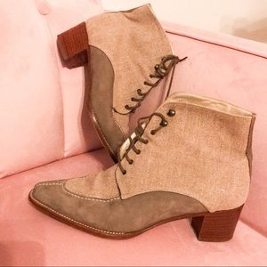 Paloma lace up canvas nubuck booties